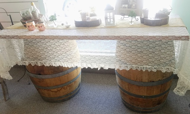 WINE BARREL TABLE SETUP
